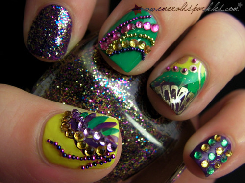 Share this: - Mardi Gras Nail Art Nails Done Right