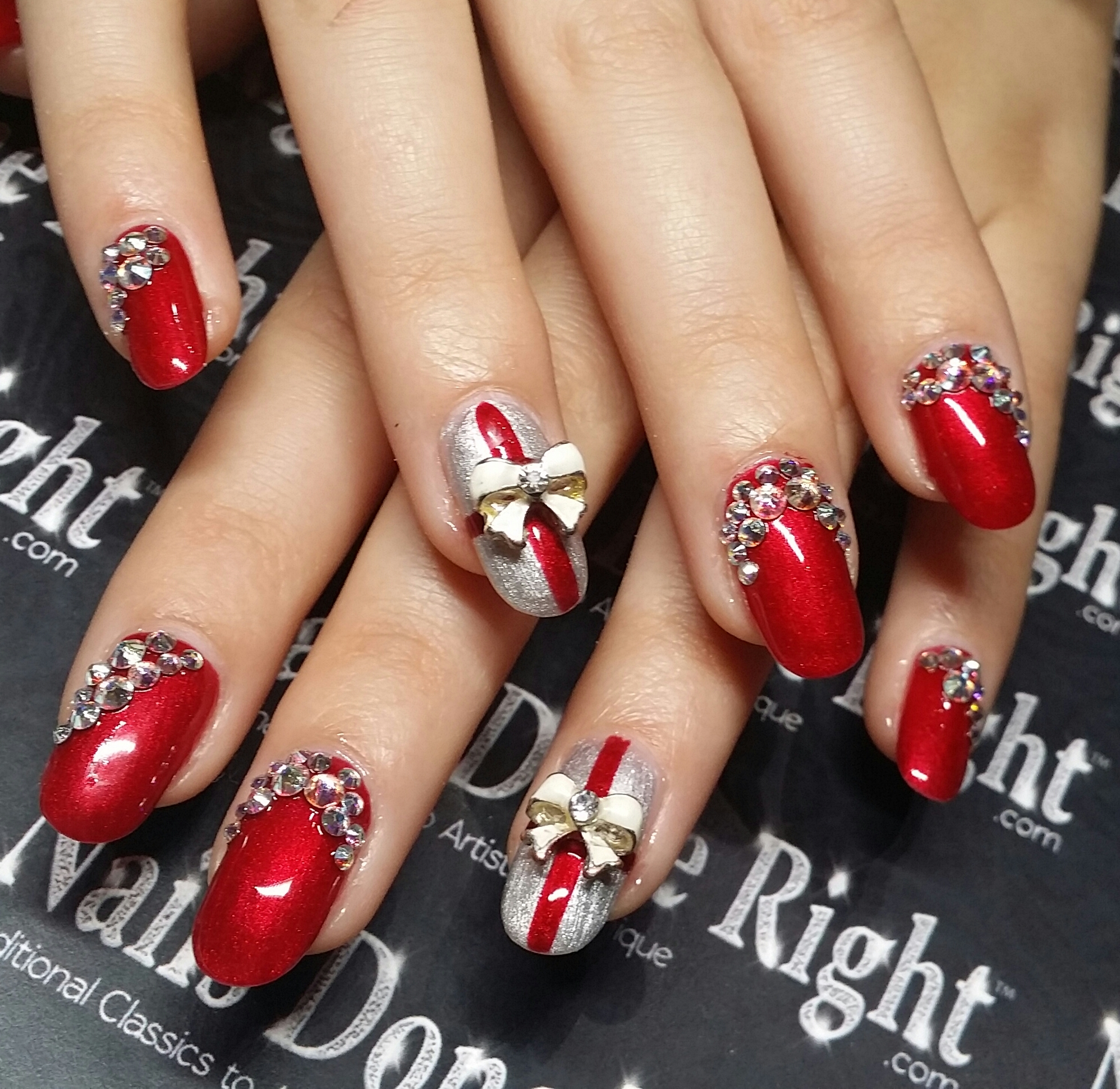 Swarovski Crystal Christmas Nails Nails Done Right