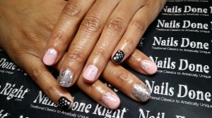 pink and silver glitter gel nail overlay