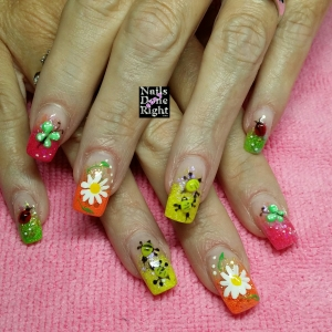 3d ladybugs & butterflies and neon glitter